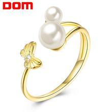 Anillo ajustable de Plata de Ley 925 anillos elegantes de perlas de mariposa para mujer joyería fina Original para mujer