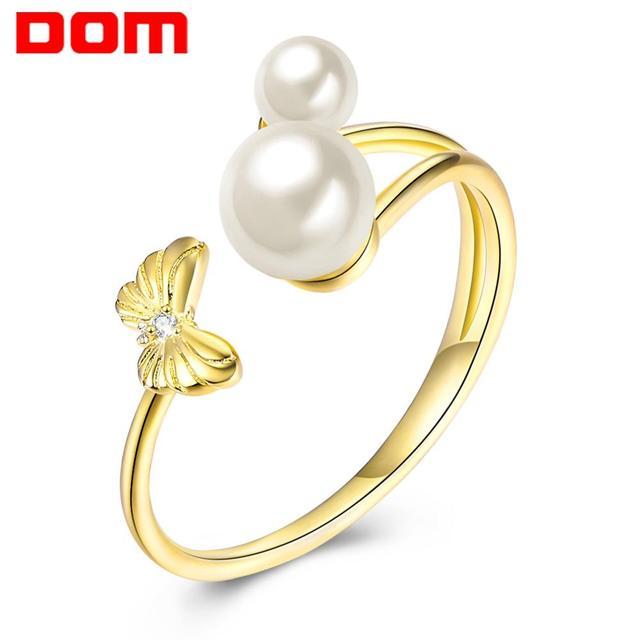 DOM Women Rings  925 Sterling Silver Adjustable Ring Elegant Butterfly Pearl Rings for Women Original Fine Jewelry SVR395