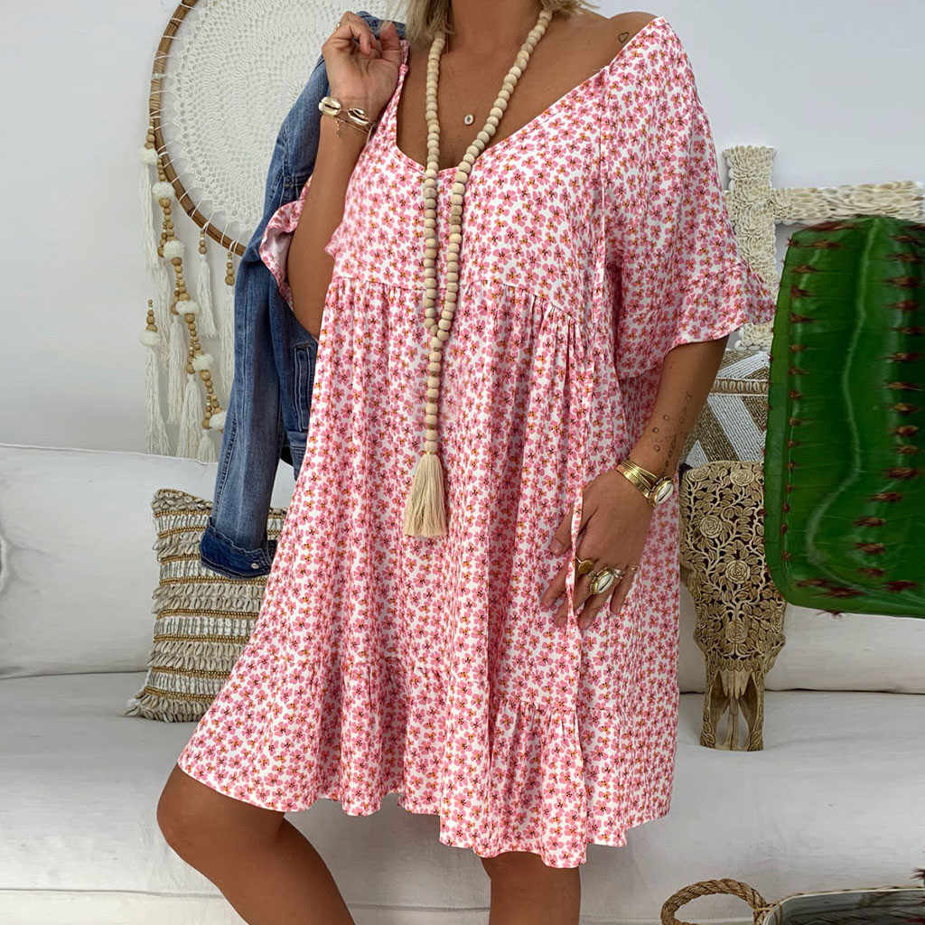 JAYCOSIN плюс размер 5XL женское летнее платье свободного покроя с коротким рукавом Мини-сарафан с рюшами бохо платье с цветным принтом Femme 723