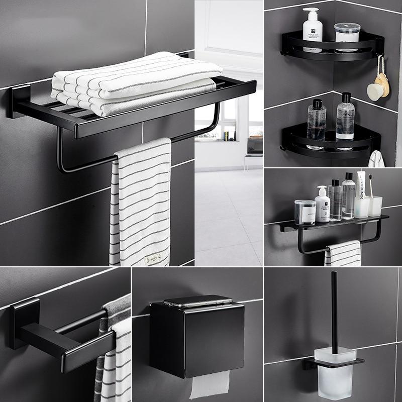 Black Matte Bathroom Accessories Set Space Aluminum Toothbrush Holder Metal Bathroom Hardware Roll Holder Toilet Brush Holder