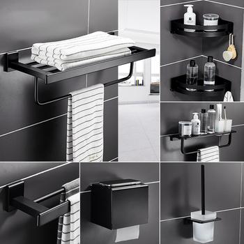 Czarny matowy zestaw akcesoriów łazienkowych przestrzeń aluminiowy uchwyt na szczoteczki do zębów metalowe wyposażenie łazienkowe uchwyt na rolkę szczotka do wc uchwyt tanie i dobre opinie Ze stopu aluminium ze stopu aluminium Anodowanie Zestawy sprzętu do kąpieli T0814A black simple