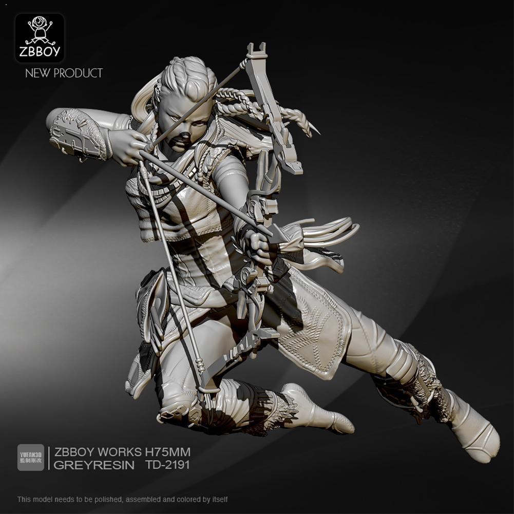 <font><b>1/24</b></font> <font><b>75mm</b></font> Unassembly <font><b>Resin</b></font> Soldier <font><b>Model</b></font> Self-assembled <font><b>Model</b></font> Archer <font><b>Kits</b></font> <font><b>Resin</b></font> <font><b>Resin</b></font> Female Figure Soldier White TD-2191 F F2X1 image