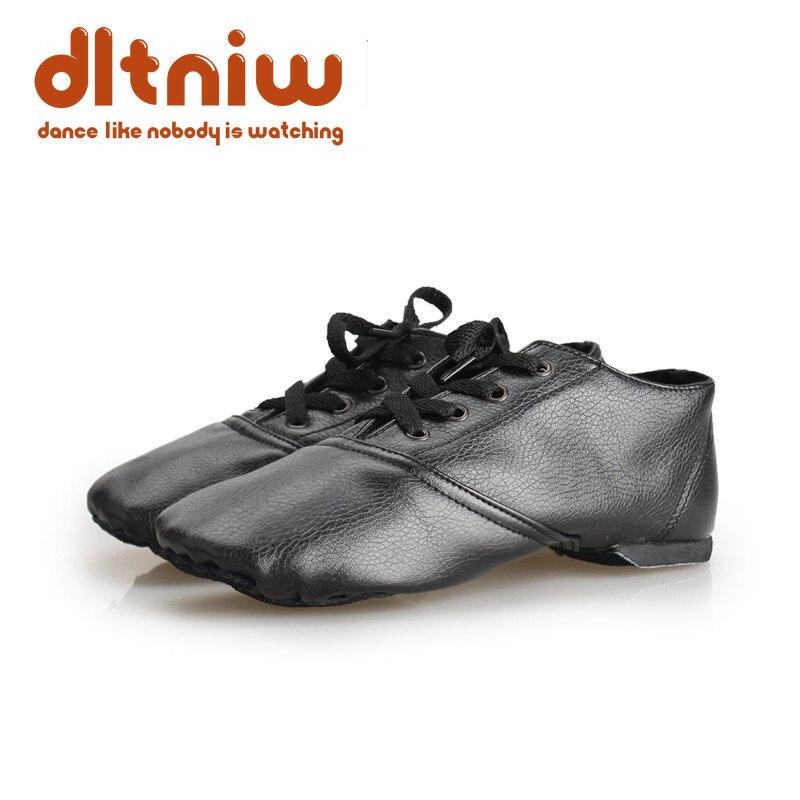 Sale Kids 28-45 PU Leather Jazz Shoe Women Dance Damen Schuhe Design Soft Lace Up Lady Practice Teacher Ballet Jazz Ballet Shoes