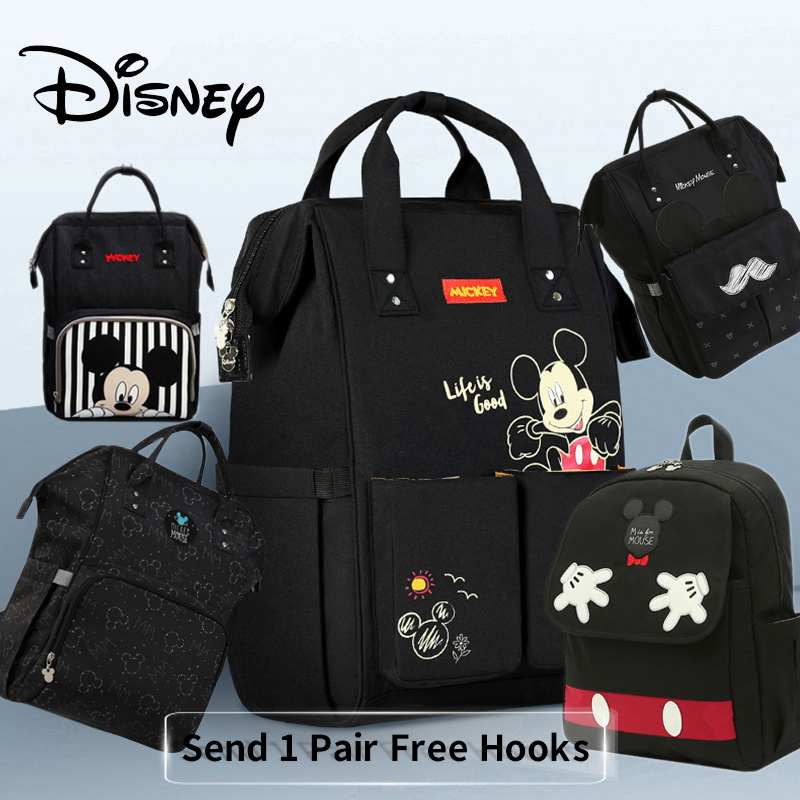 Disney Backpack Nappy-Bag Stroller Baby Bag Moms Free-1piar-Hooks Travel Maternity