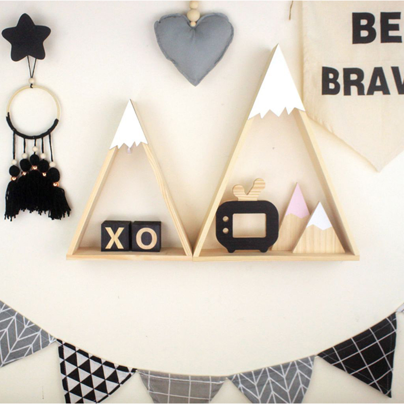 2pcs/set Nordic Style For Baby Room On Wall Wood Snow Mountain Shelf For Kids Room Decorative JJJSN11451