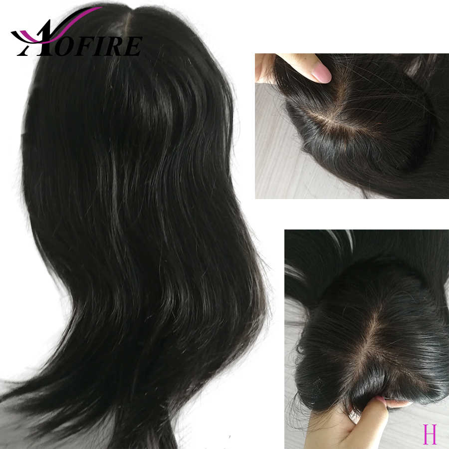 100% Human Hair For Women And Men 8*12 cm PrePlucked Natural Color Brazilian Straight Remy Hair With Clips High Ratio Aofire