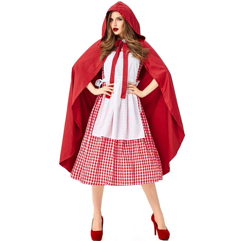 New cosplay Halloween costume red plaid cloak fairy tale character stage performance clothing witch party costume