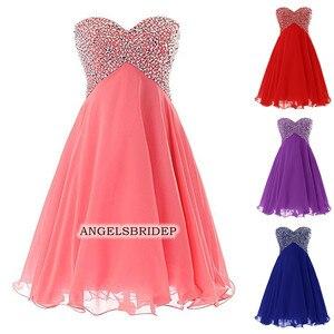 Angelsbridep Short Chiffon Homecoming Dresses 2020 Sweetheart Beading Vestidos De Festa Junior Graduation Formal Party Gowns