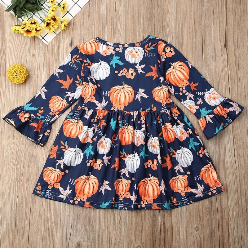 Kids Baby Girls Party Haloween Pumpkin Dress Long Sleeve Princess Skater Dresses