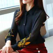 Blusas mujer de moda 2019 chiffon blouse black button solid blusas femininas Embroidery Floral harajuku ladies tops full  0186