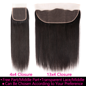 Image 5 - Transparent Lace Frontal With Bundles Brazilian Straight Hair Bundles With Frontal Aatifa 100% Human Virgin Hair With Closure
