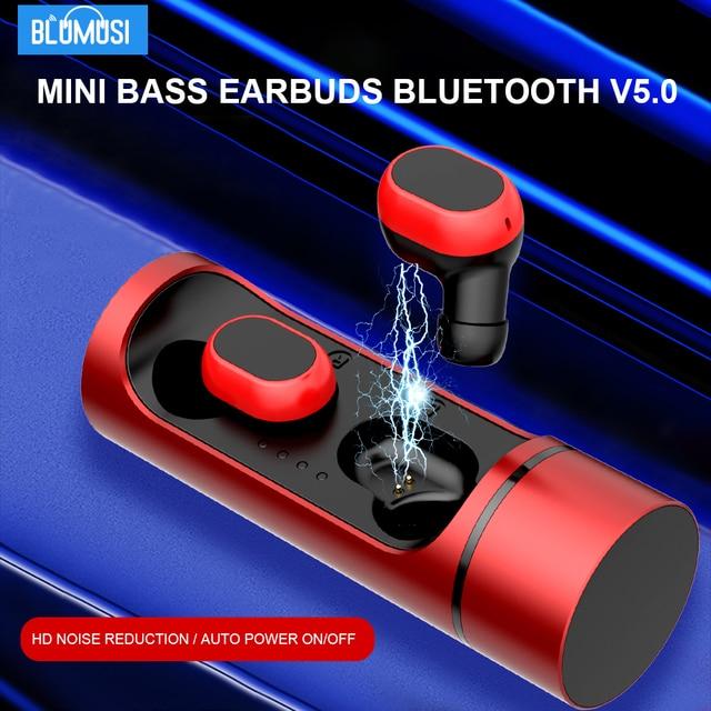 Blumusi k1 tws fones de ouvido sem fio bluetooth 5.0 verdadeira redução ruído estéreo sem fio mini baixo