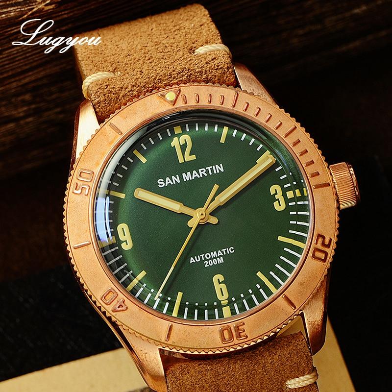 Image 2 - Lugyou さんマーティンブロンズダイバー腕時計自動回転ベゼル 200 メートル耐水性サファイアドーム型クリスタル本革ストラップ機械式時計   -