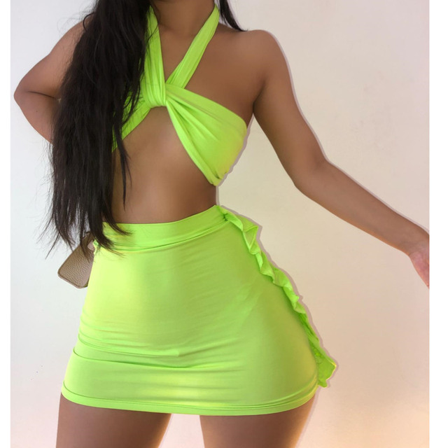 Kesiachiccly Ruffles Spaghetti Strap Dress Sexy Bodycon Summer Dress 2021 Ruched Sleeveless Backless Party Clubwear Slim Dress 4