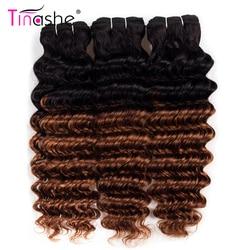 Tinashe włosów 1B 30 brazylijskie doczepy do włosów wyplata wiązki Remy ludzki włos przedłużanie włosów głęboka fala wiązki kolorowe Ombre 3 zestawy