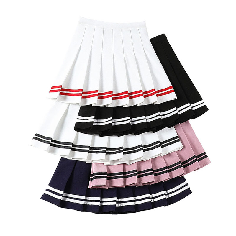 Sailor Striped Stitching Women Skirt Summer A-Line Pleat Skirts Sweet Girls Mini Skirt Harajuku Fashion High Waist Ladies Skirts
