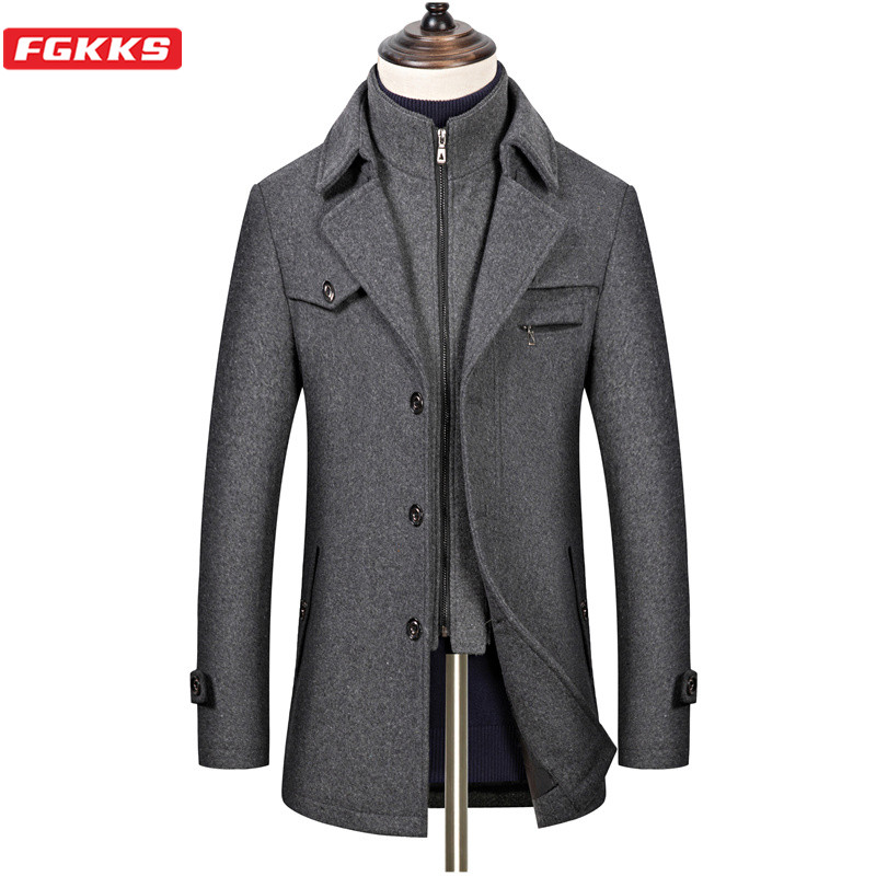 FGKKS Winter Wool Blend Coat Men New Men's Business Casual Long Wool Overcoat High Quality Solid Wool Coat Male Brand Clothing