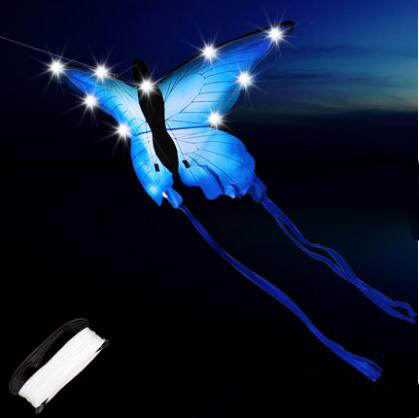 New Arrive High Quality Outdoor Fun Sports LED Butterfly Kite With Lights Good Flying Factory Outlet
