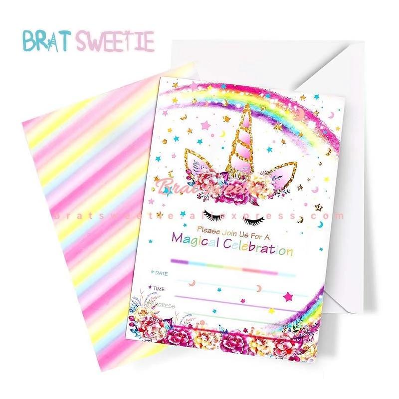 carte d invitation en papier licorne avec enveloppes decorations licorne pour fete prenatale anniversaire enfant cadeaux d anniversaire
