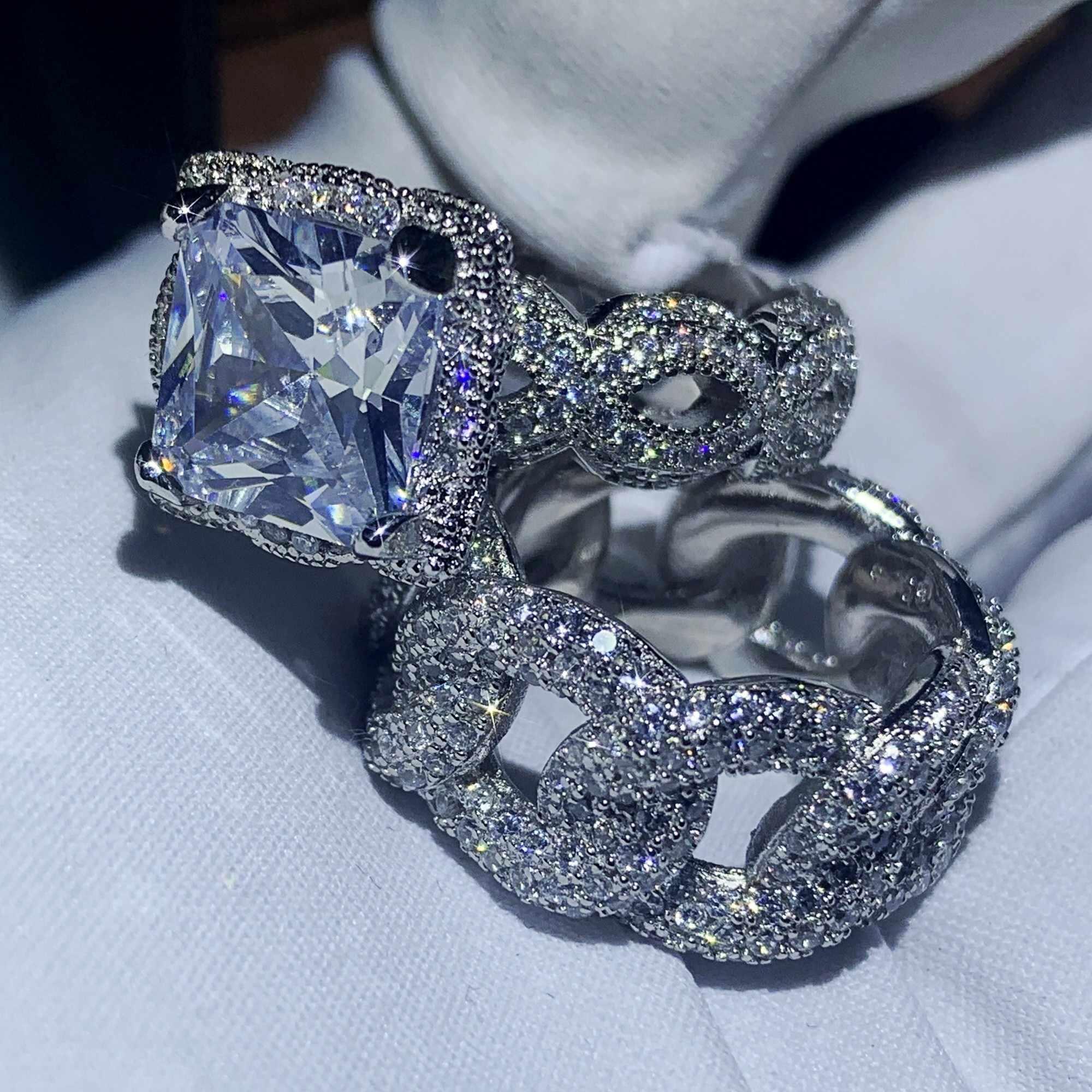 Hip Hop 2019 nouvelle offre spéciale bijoux de mode Vintage 925 en argent Sterling pavé blanc clair CZ femmes mariage bague ensemble cadeau