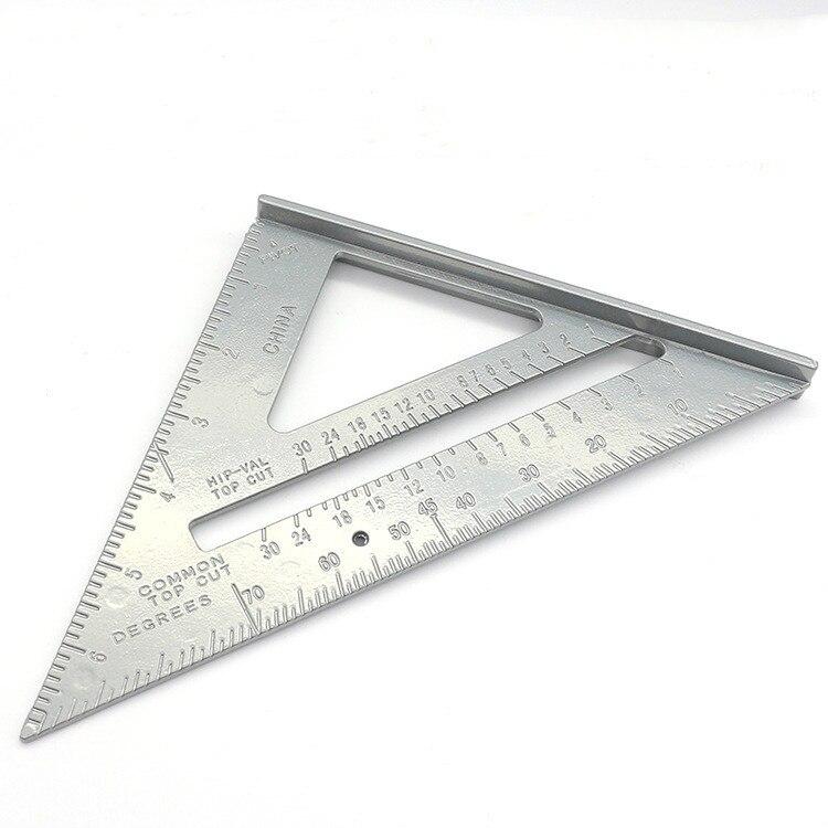 Herramienta de medición de escuadra triangular, transportador de velocidad de aleación de aluminio para carpintero, guía de sierra de línea tricuadrada