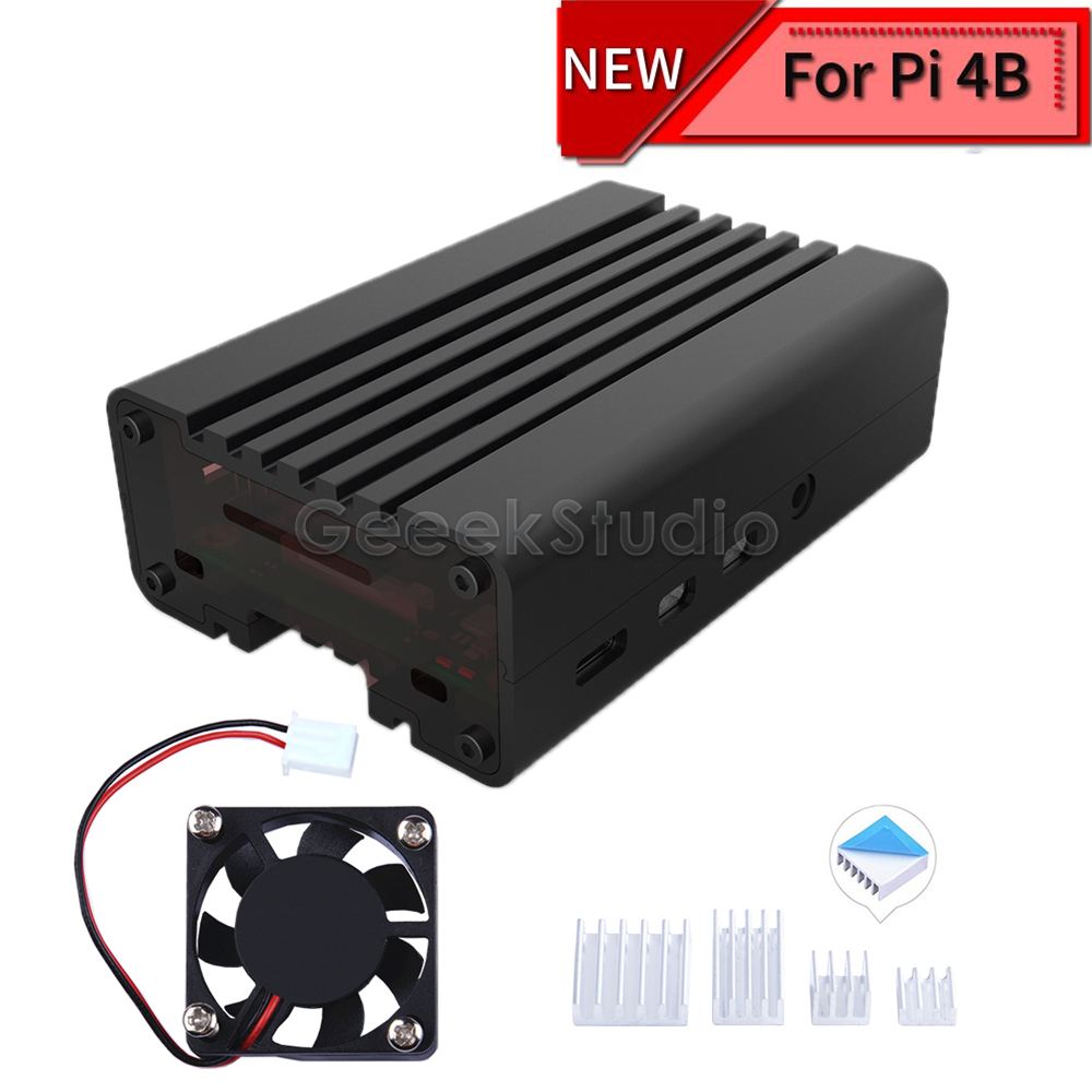 Black CNC Aluminum Alloy Case Enclosure Shell Cover For Raspberry Pi 4 Cooling Fan Heat Sinks For Raspberry Pi 4B
