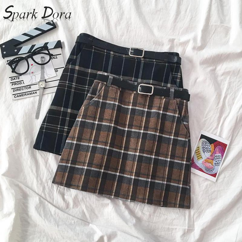 SparkDora 2020 Girls' All-in-one Plaid Skirt Retro High Waist Thin A-shape Wrap Hip Skirt Belt