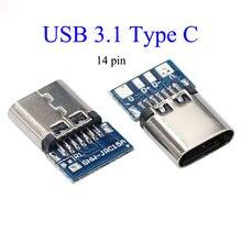 10pcs usb 31 type c connector 14 pin female socket receptacle