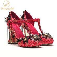 Phoinet scarpe da sposa rosse donna accessori per scarpe a forma di cuore Vintage pompe con cinturino a T in cristallo tacchi alti da donna moda 2021 FT1324