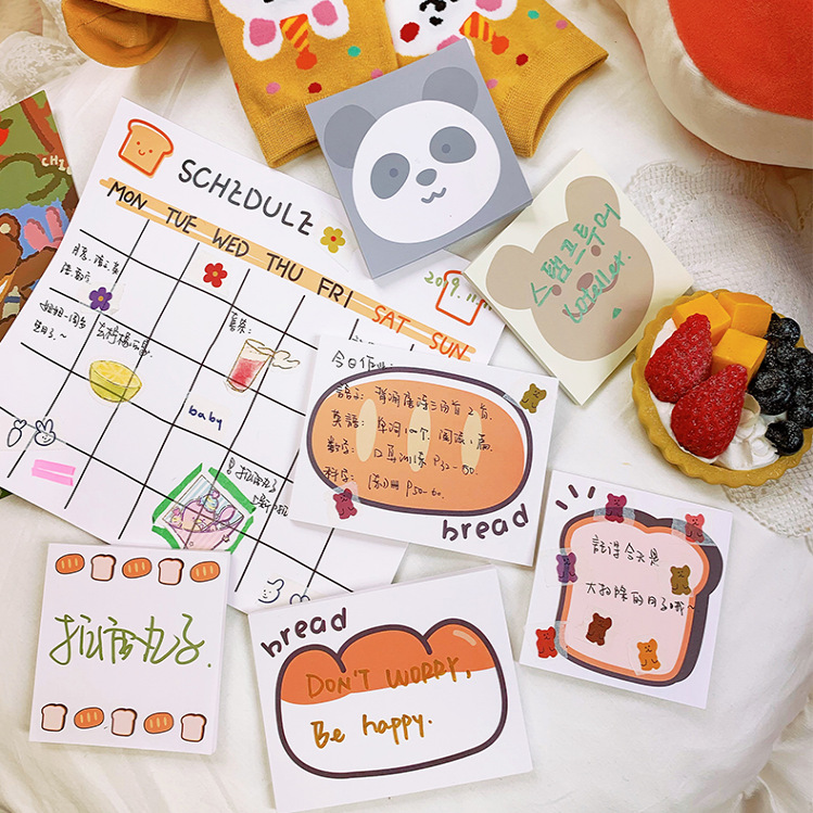 Mohamm 1 Pack Read Toast Planner Stickers Notes Memo Pad Cute Cartoon Bear Korean Stationery Office School Supplies