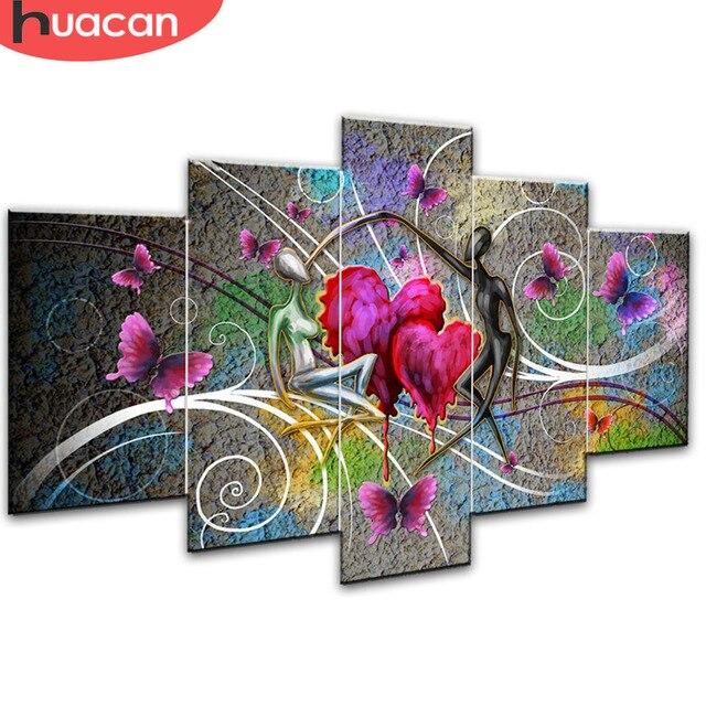 Huacan Lover Diamant Schilderij Handwerken Kruissteek Volledige Vierkante Mozaïek Multi Picture Combinatie Steentjes Diy Gift