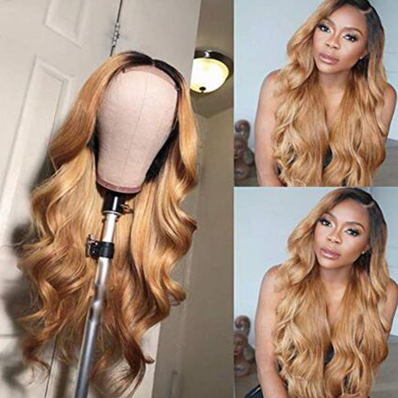 360 Ombre Lace Front Human Hair Wigs With Baby Hair Middle Ratio Non-Remy 13*6 Lace Wig For Women Bleached Knots Pre-plucked