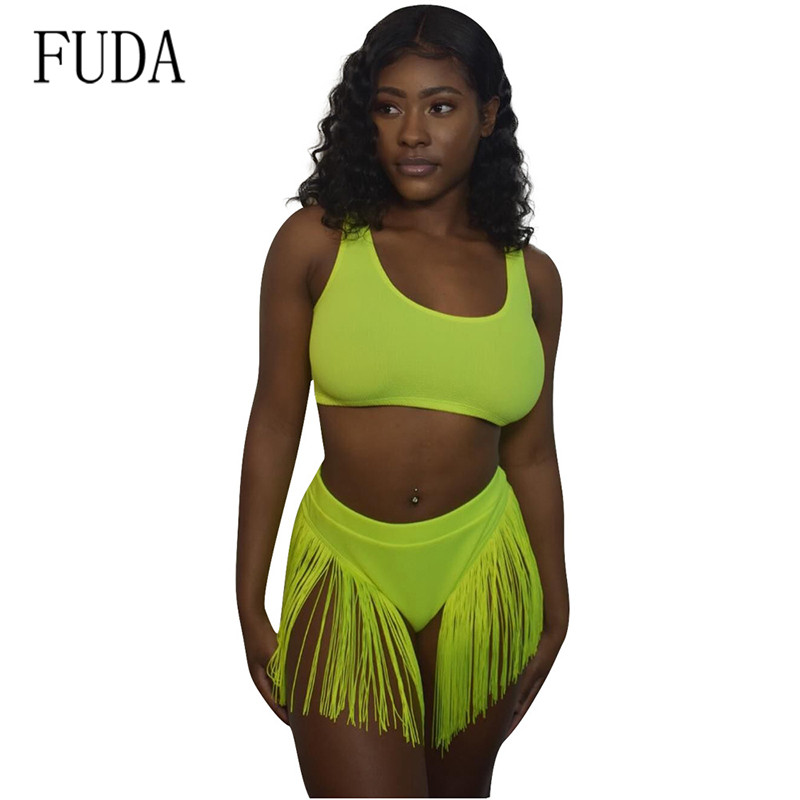 FUDA Hollow Out Sleeveless 2 Pieces Sets Tassel Swimsuits Sexy Jumpsuits Elegant Short Rompers Womens Backless Fringe Bodysuits