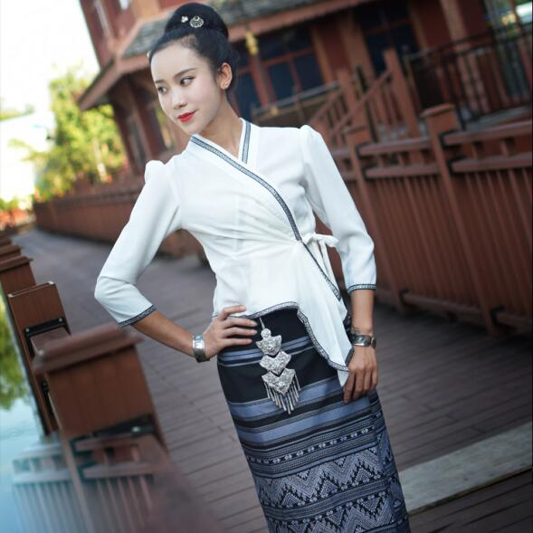 Thailand Yunnan  Ethnic minority Dai Clothing  Festival Jacket + Skirt Thai Race Fashion Summer Air-permeable Slim Casual Dress