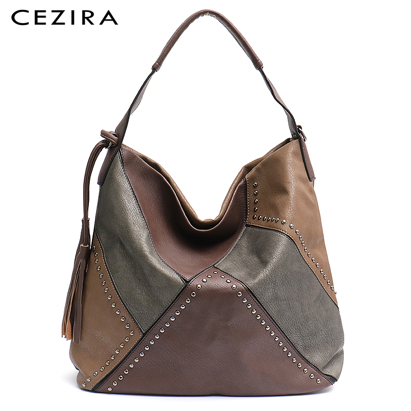 CEZIRA Women Patchwork Shoulder Bags Ladies Vegan Leather Tassel Bags  Large Capacity Female Casual Tote Handbags Messenger Bags