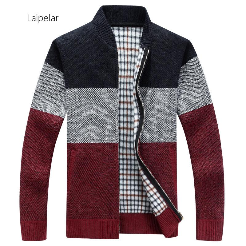 Laipelar New 2020 Autumn Opener Zipper Men's Sweater Thickened And  Velvet  Stand Collar  Men's Loose Warm Knitted Jacket