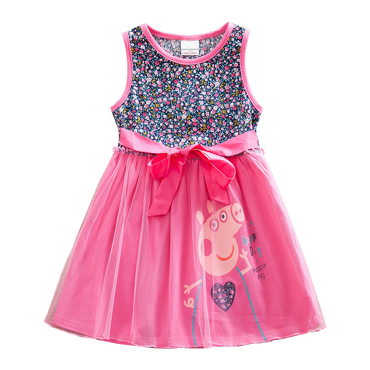 Peppa Pig Children Baby Girl Dress Summer Princess Short Sleeve Skirts Clothes Cotton Party Lace Girl 1-8 Baby Skirt Dress Doll