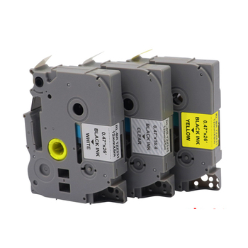 5Pcs Compatible de la cinta de etiqueta, negro sobre blanco, 12mm Tze131 Tze 131 Tze231 Tze631 Tze-131 Tze-231 Tze-631 para Brother P-touch impresora