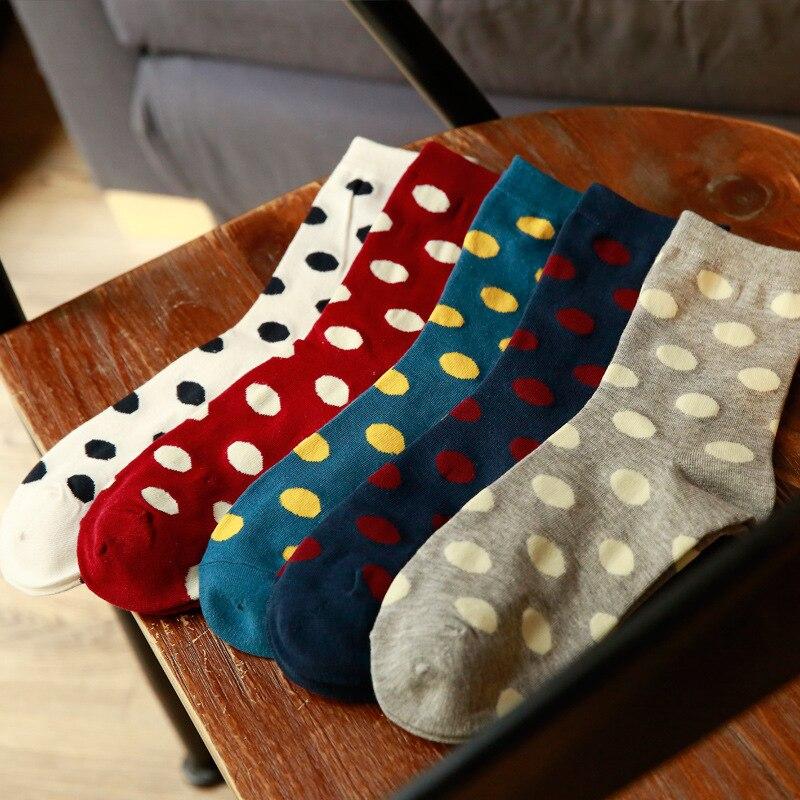 1 Pair Women Loose Socks Autumn Winter Warmer Retro Casual Preppy Sweet Style All-match Polka Dot Pattern Sock