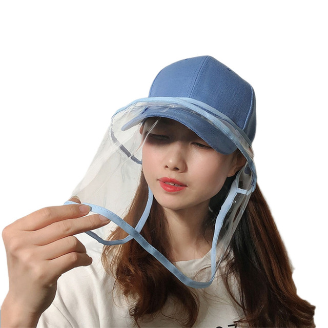 2020 Newest Collapsible Removable Protective Anti-saliva Dust-proof Hat Safety Full Face Shield Protection Caps with Clear Mask 2