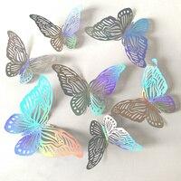 Pegatina de atrapasol 3D con efecto de mariposas de cristal hueco para pared de niños, calcomanía de pared de habitación, decoración de Navidad para el hogar, 12 Uds.