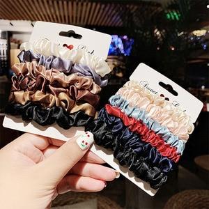 New 1Set Women Elegant Silk Velvet Elastic Hair Bands Headband Scrunchie Rubber Band Ponytail Holder Fashion Hair Accessories