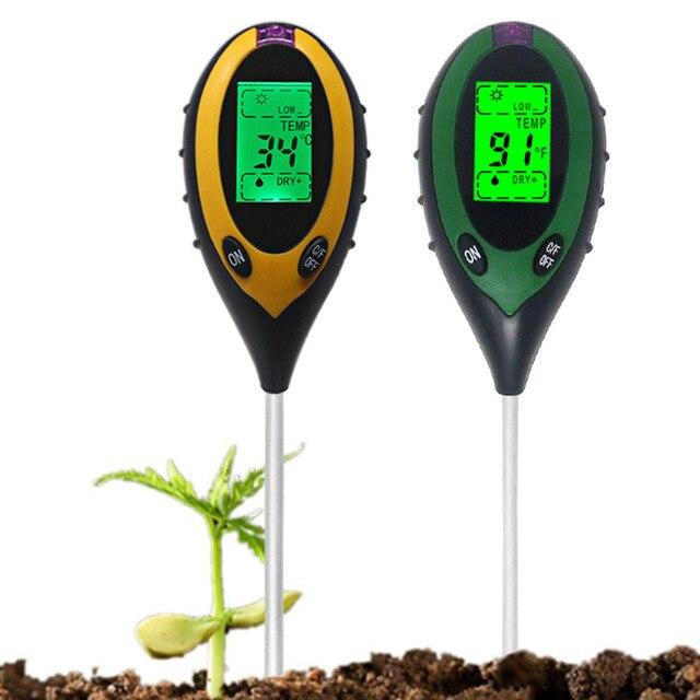 Termômetro digital 4 em 1 para uso múltiplo, medidor de ph do solo, umidade, luz solar, monitor de temperatura para jardinagem, plantas
