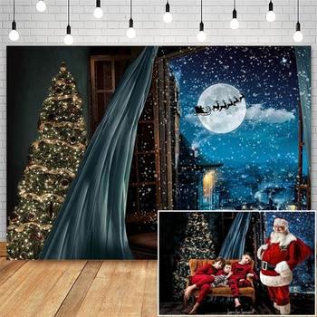 Christmas Eve Window Snow Backdrops For Photography Santa Sleigh Background Photo Studio Props Christmas Tree Decorations inkpen mick kipper s christmas eve