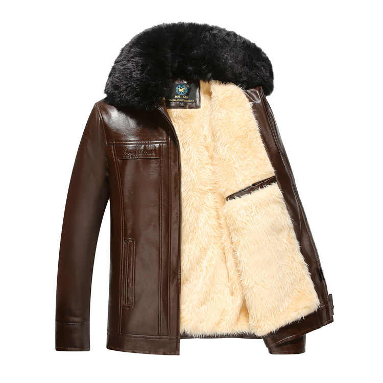 New Style Middle-aged Leather Coat Fold-down Collar plus Velvet Leather Coat Warm PU Leather Coat Daddy Clothes