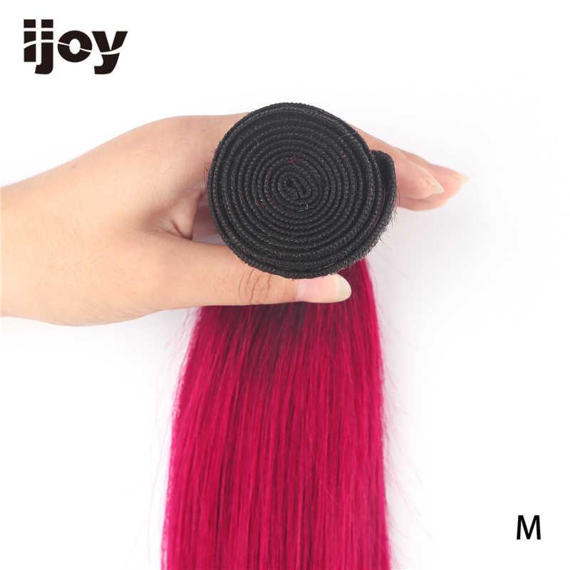 Mechijoy】ombre mechones de cabello humano # rojo borgoña 8 ''-26'' M mechones de cabello brasileño no Remy 4 mechones de cabello lacio extensión