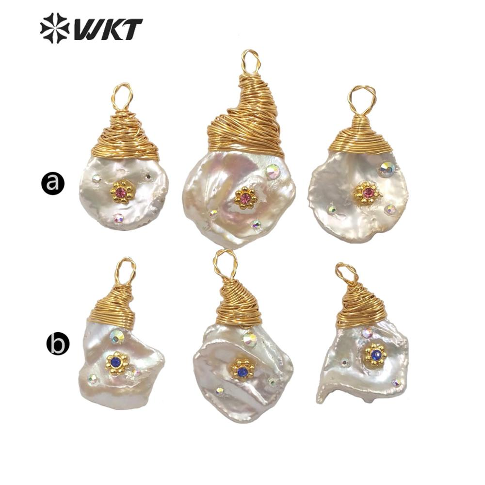 Image 2 - WT JP167 Natural Freshwater Pearl pendant wire wrapped natural  pearl with CZ paved charm pendant  Fashion Elegant handmake  JewelPendants