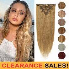 MRSHAIR dégagement 24 pouces 170g pince Ins Extensions de cheveux humains droite #60 #613 couleur Blonde pleine tête 8 pièce/ensemble Machine Remy cheveux