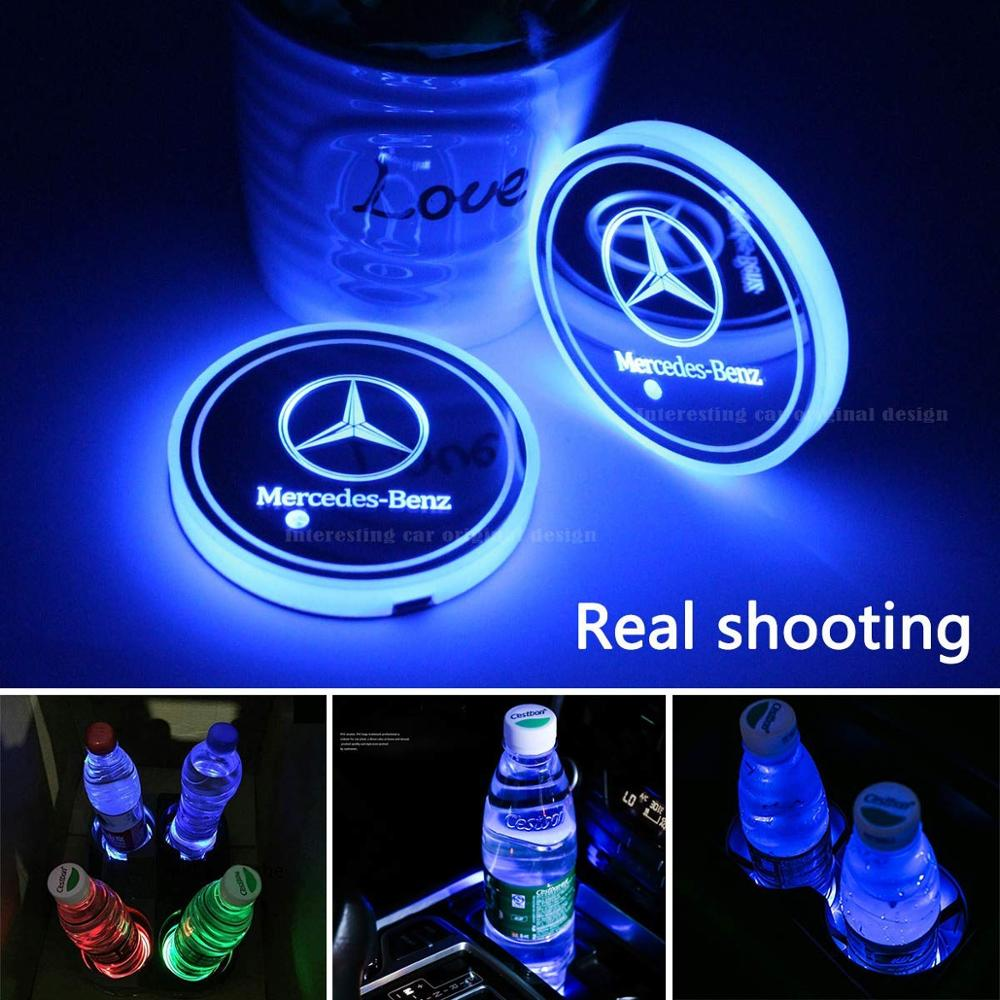 2pcs LED Car Cup Holder Lights For Benz, 7 Colors Changing USB Charging Mat Luminescent Cup Pad, LED Interior Atmosphere Lamp