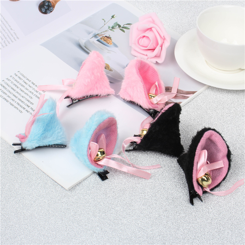 Freee Shipping COS Anime Cat Ear Hairpins Maid Catwoman Lolita Soft Cute Hair Clip